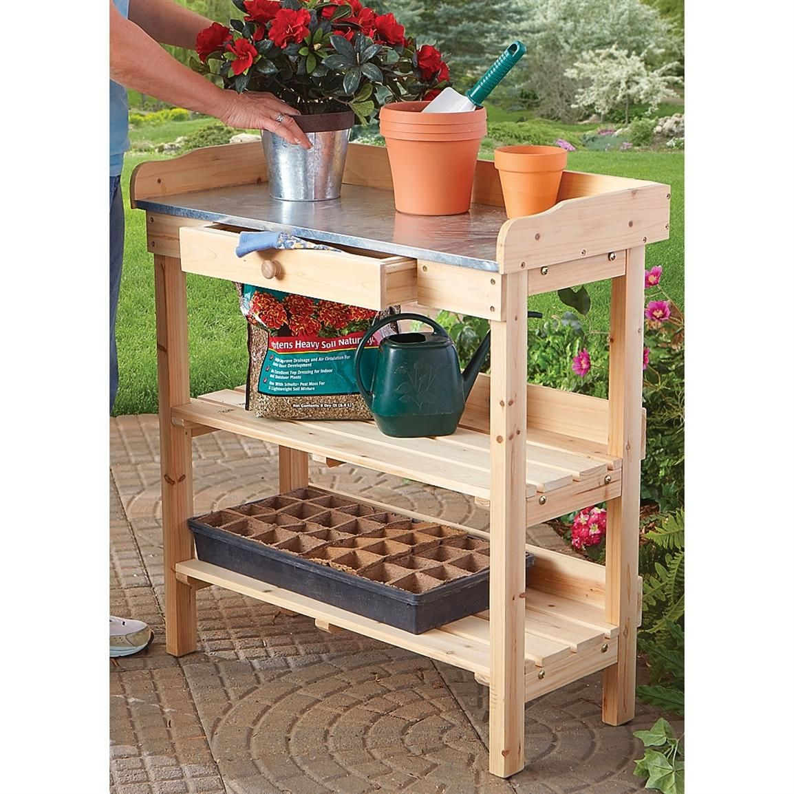 Finally, A Handy Garden Work Bench For Easy Potting Operations