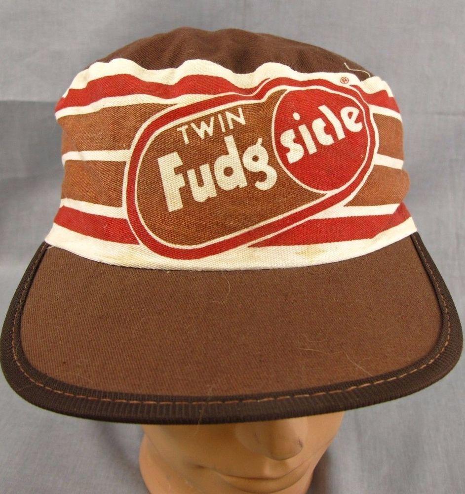 22c853f6046 Fudgsicle Hat Vintage Painter s Cap Size S M 1980 s Painter Brown Striped   PaintersCap