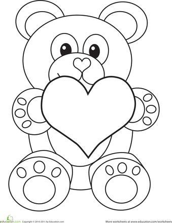 Valentines day bear worksheet education com