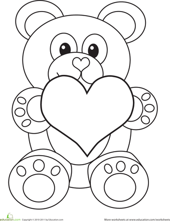 Valentine S Day Bear Worksheet Education Com Valentines Day Bears Valentines Day Coloring Valentine Coloring Pages