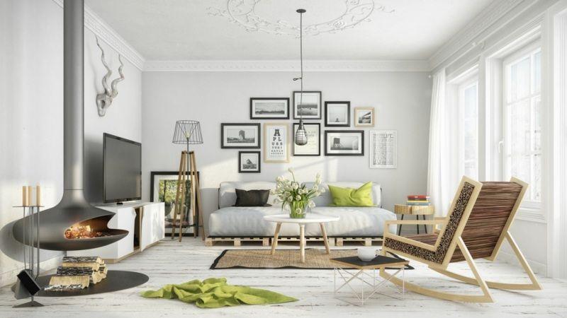 skandinavisch wohnen - helle einrichtung mit grünen akzenten und ... - Skandinavisch Wohnen Wohnzimmer