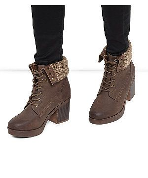 Dark Brown Knitted Cuff Lace Up Block Heel Ankle Boots