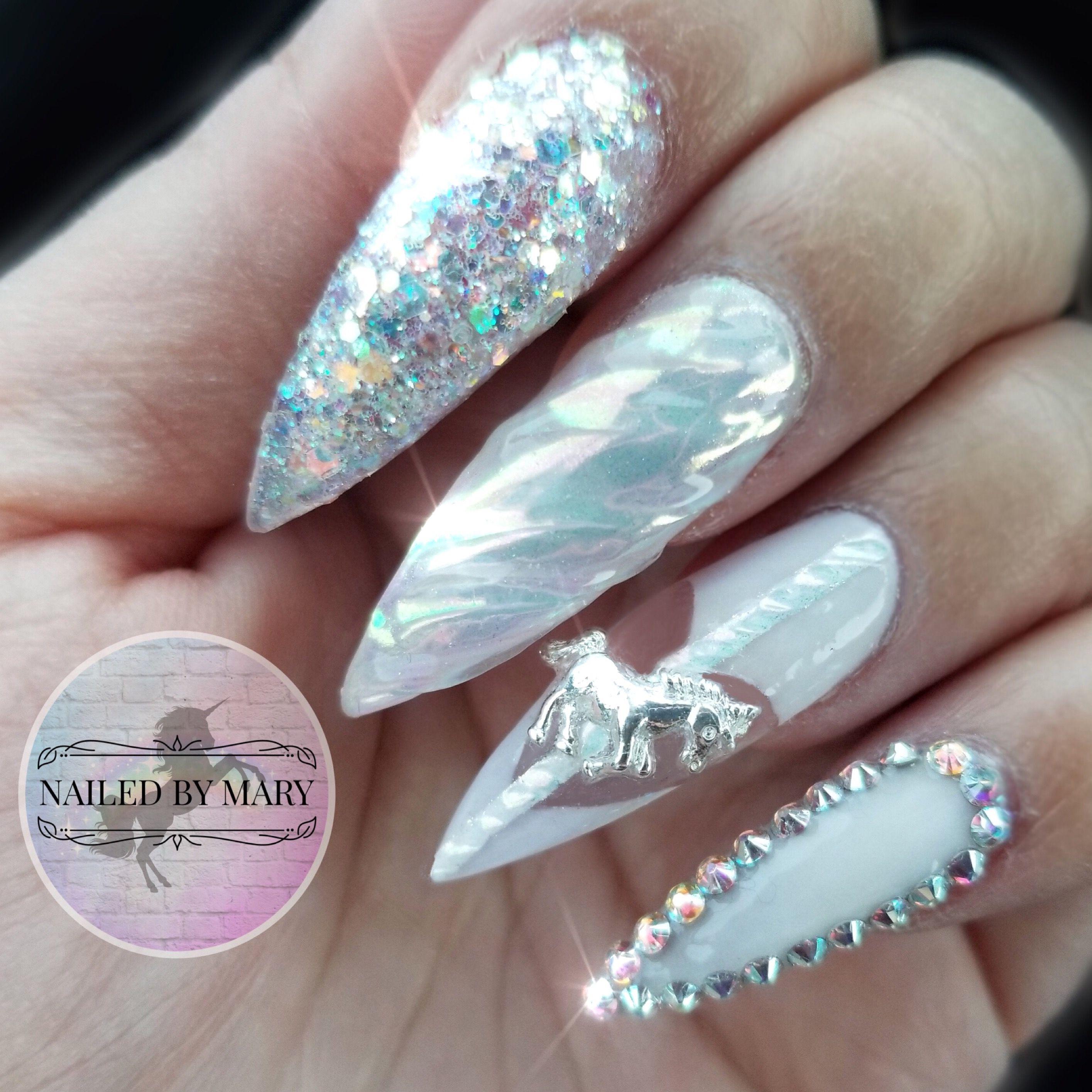 Unicorn charm horn glitter iridescent Swarovski crystals white ...