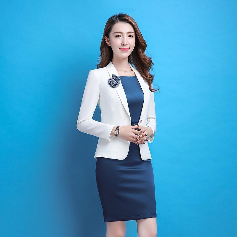 22223e57471 PYJTRL Elegant OL Fashion White Blue Satin Silk Temperament Business Formal  Dress Suits Women Work Clothes Office Uniform Style