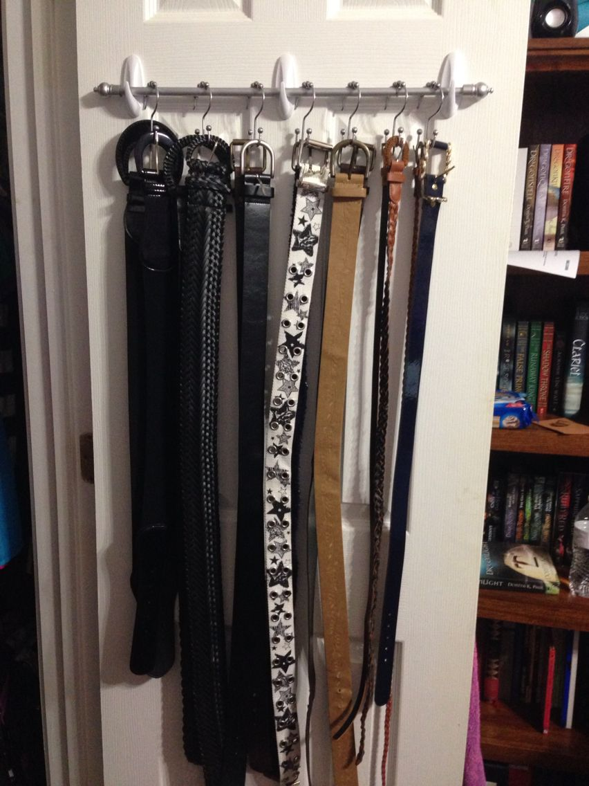 Belt Organizer/hanger Made Using A Small Curtain Rod, Command Hooks, And  Double