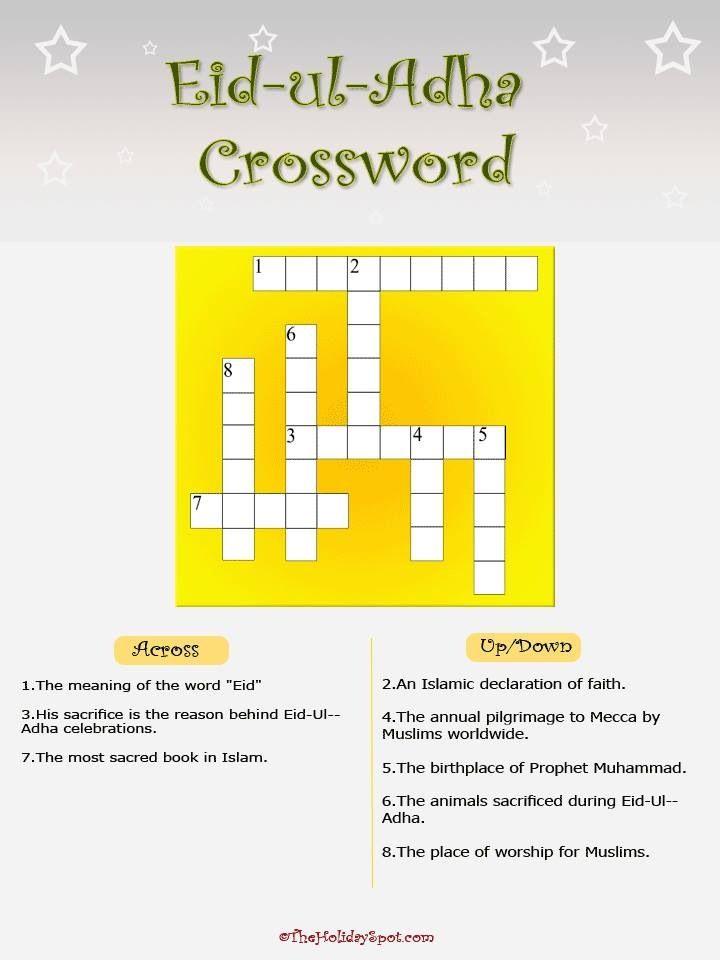 Eid Al Adha  Crossword 3    Islam: Activities/Crafts/Decor