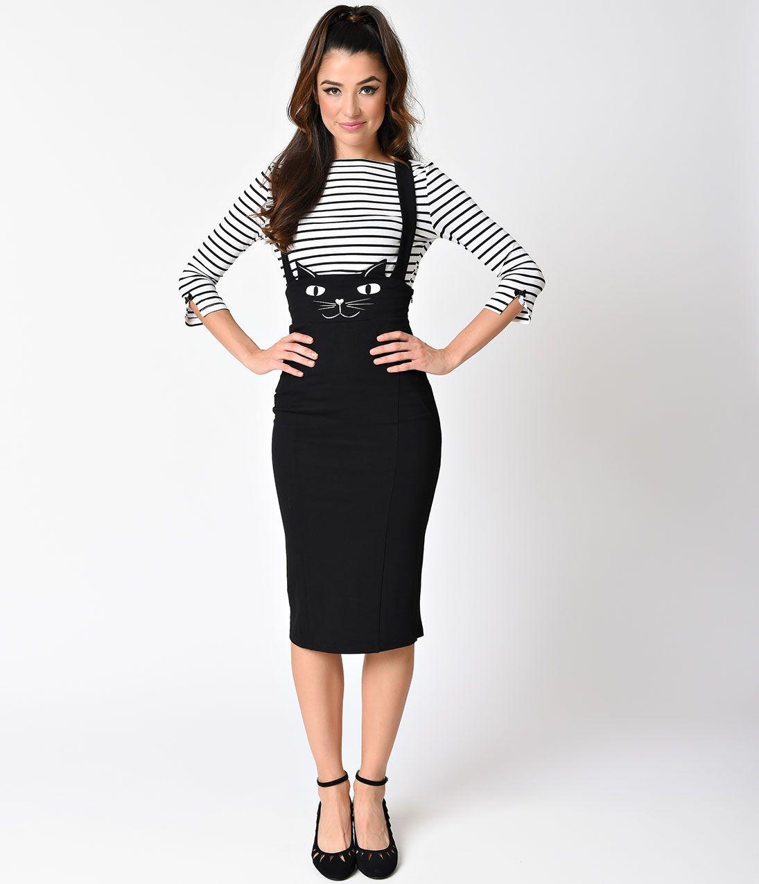 eab5c27d93 Unique Vintage Plus Size Retro Style Black Cat Sabrina Suspender Skirt