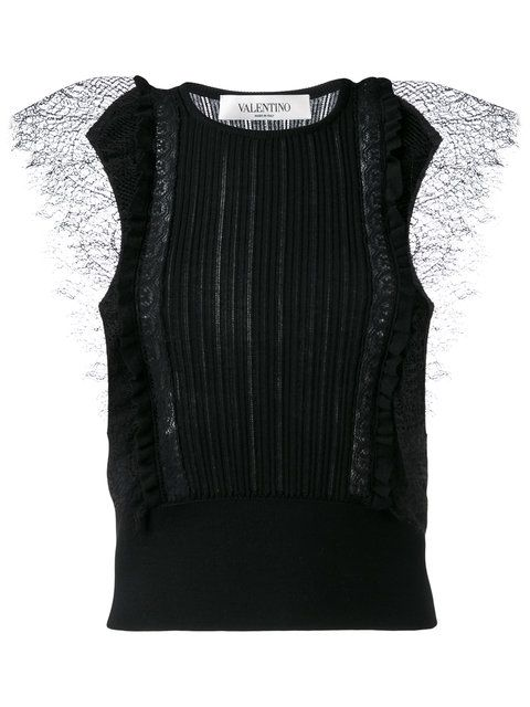 VALENTINO Lace Insert Knitted Top. #valentino #cloth #top