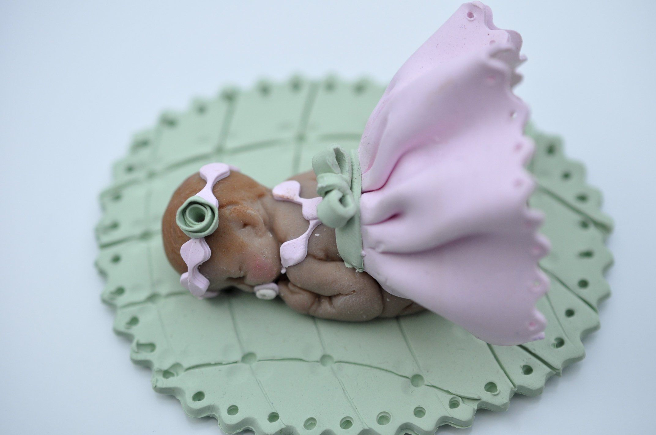 Baby girl pink skirt cake topper baby shower centerpiece