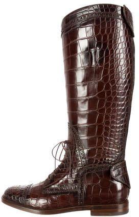 f21d78df687 Gucci Crocodile Knee-High Boots w  Tags