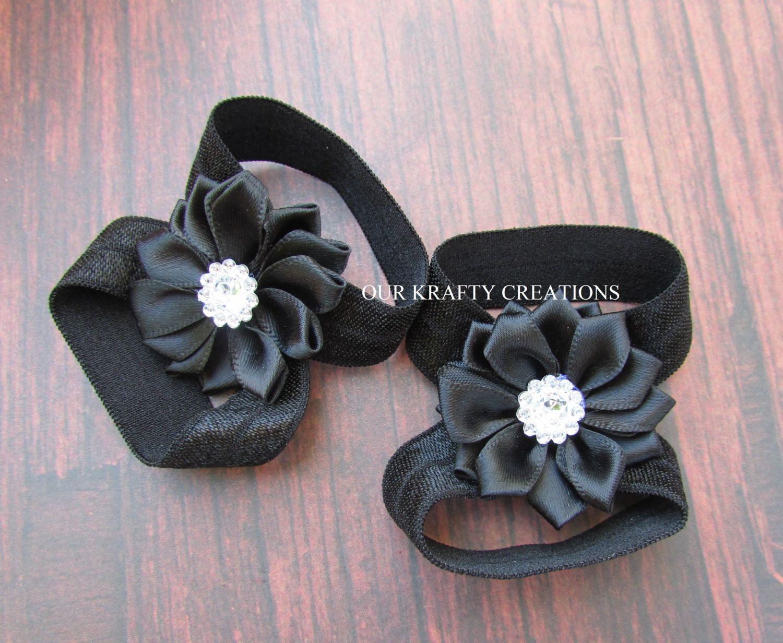 Black sandals baby girl - Black Sandals Baby Girl Sandals Newborn Sandals Flower Sandals Baby Shower Gift