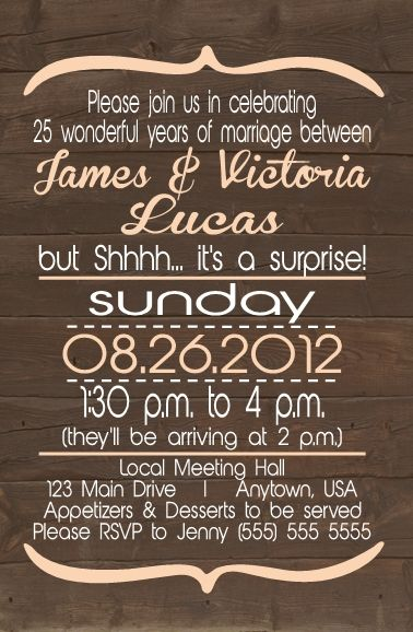 Designs by Samantha: Surprise Rustic 25th Anniversary Invitation ...