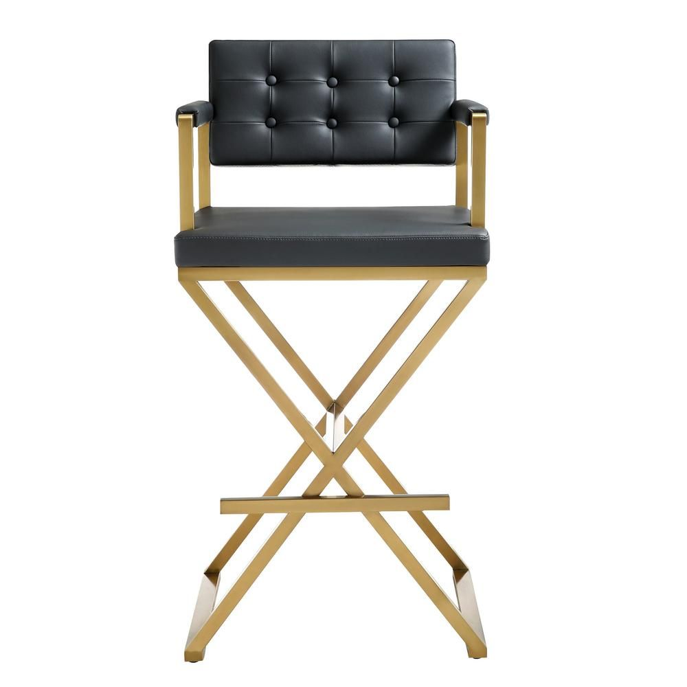 Tov Furniture Director White Gold Steel Counter Stool