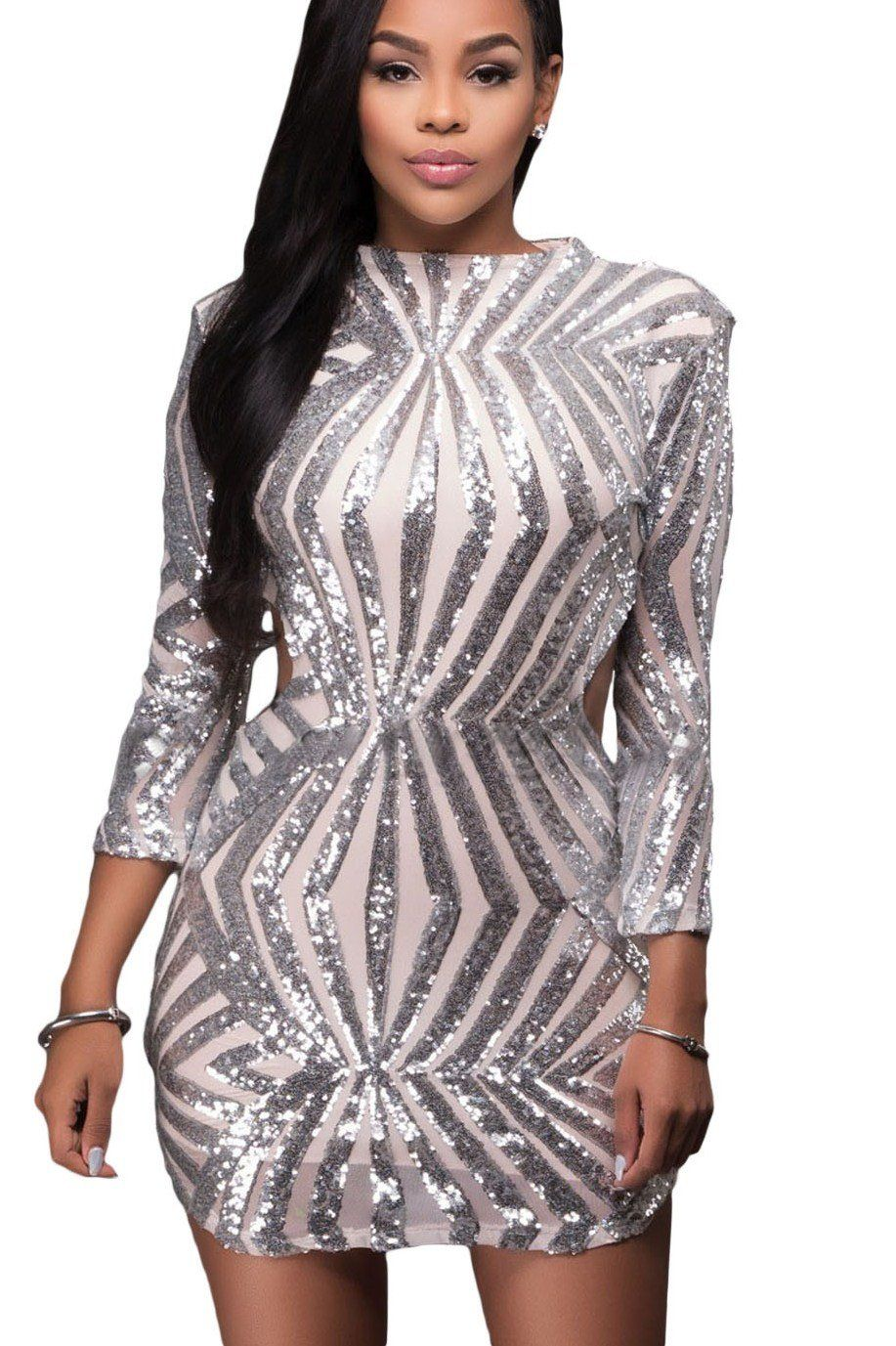 Robe de Soiree Courte Paillettes Argent Dos Nu Manches Longues Pas Cher  www.modebuy.com @Modebuy Modebuy Argent mode streetstyle newstyle  homecoming