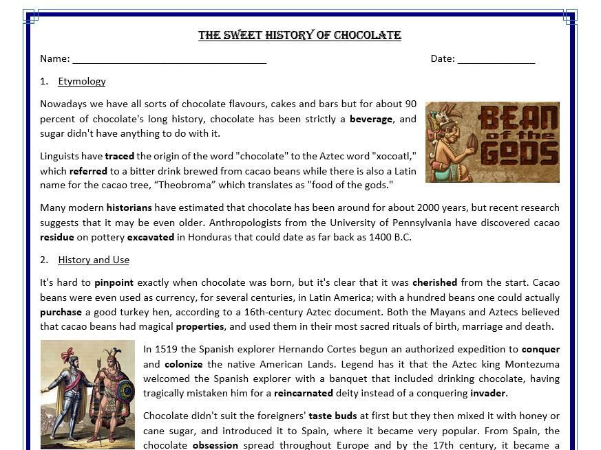 Printable Worksheets spanish reading worksheets : The Sweet History of Chocolate - Reading Comprehension (text ...