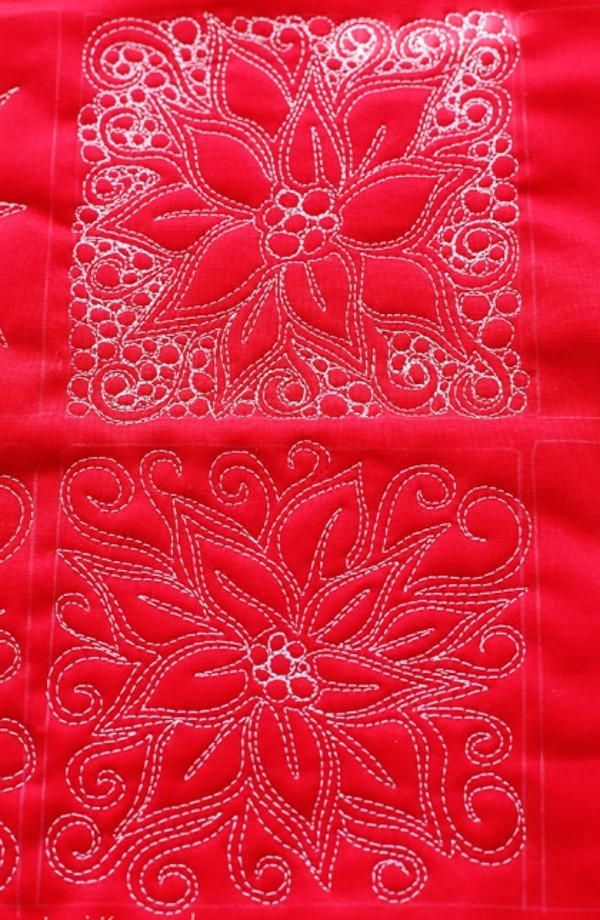 Poinsettia Free Motion Quilt Free Christmas Quilt