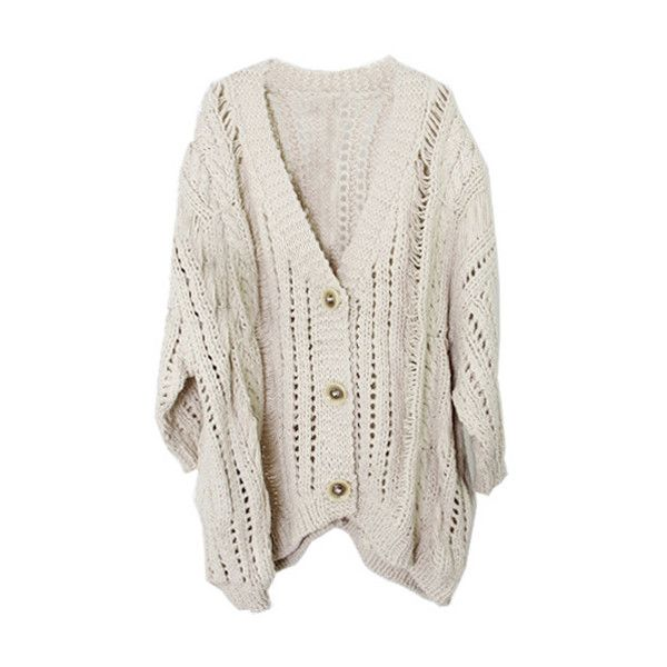 Hollow Out Oversized Apricot Cardigan (260 BRL) ❤ liked on Polyvore featuring tops, cardigans, outerwear, sweaters, ripped tops, bat sleeve cardigan, bat sleeve tops, over sized cardigan and cardigan top