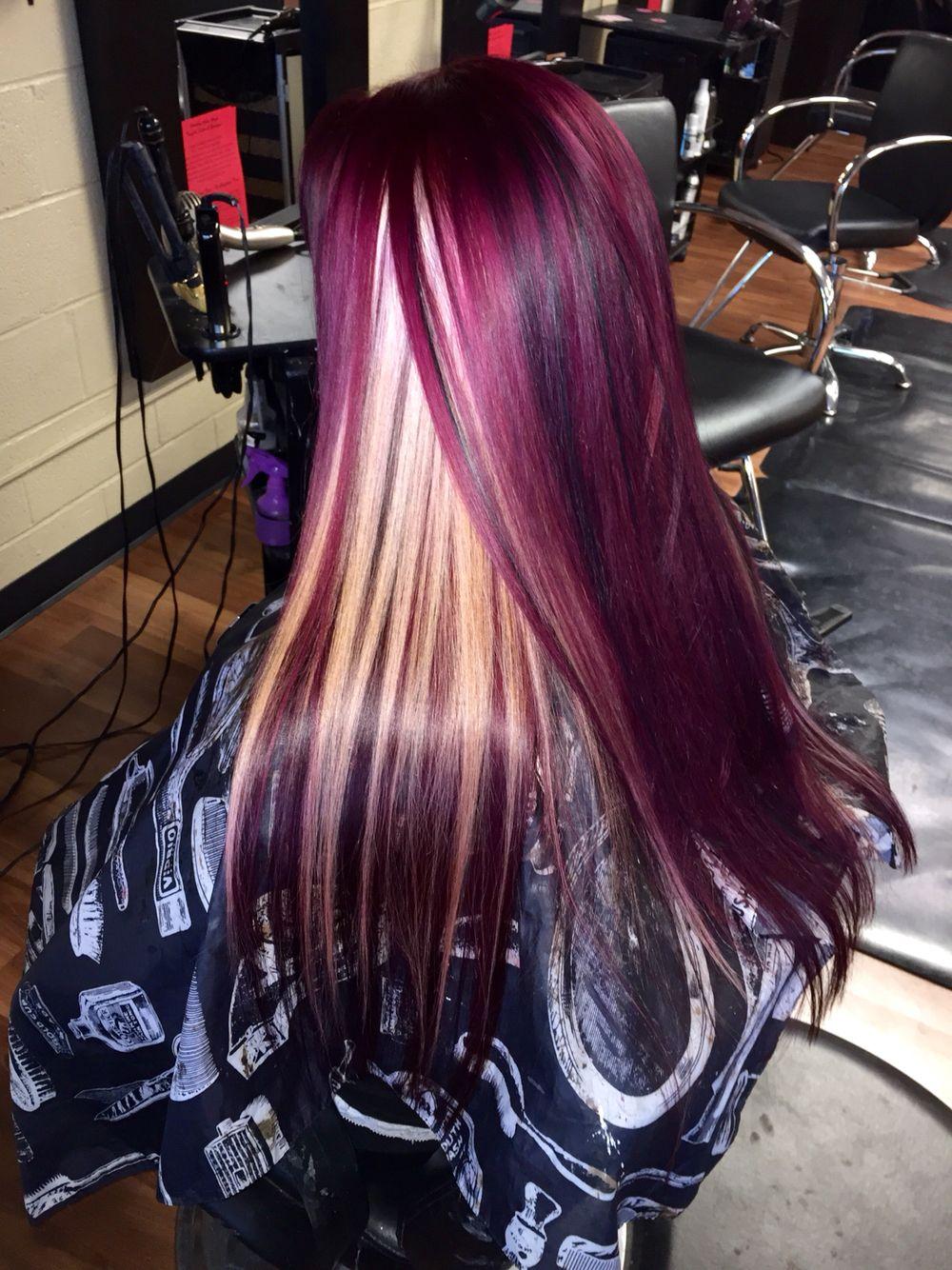 Hair by heather red violet with blonde peekaboos hair pinterest