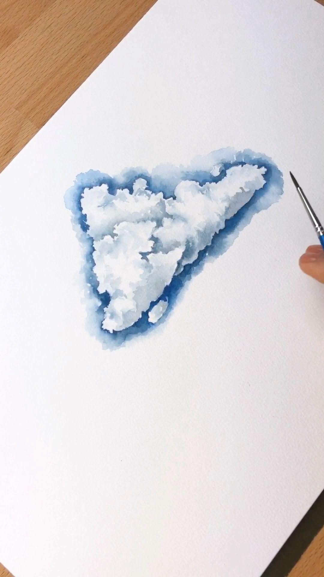 How I individual clouds, a quick video tutorial. #arttutorials #artteacher #artteachersofinstagram #instaart #artwork #tutorial #artvideos #clouds #watercolor #watercolorart #watercolorartist #painting