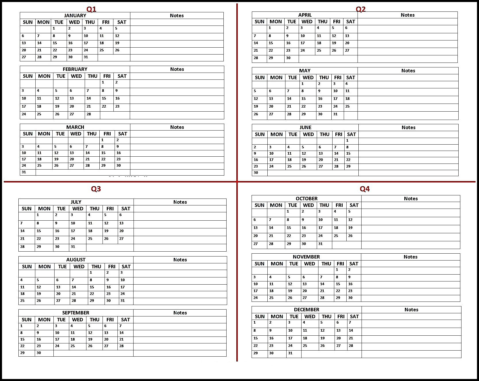 picture regarding Printable Quarterly Calendar called Absolutely free 2019 Calendar Printable Templates Blank Obtain