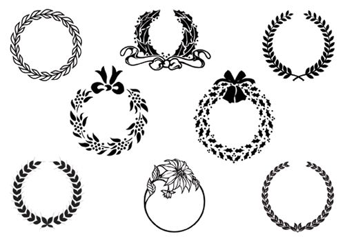 Christmas Wreath Silhouette Vector.Laurel Olive Wreath Silhouette Vector Art Silhouette