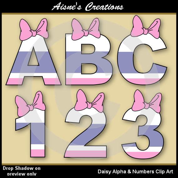 Daisy Alphabet Letters  Numbers Clip Art By Aisnescreations