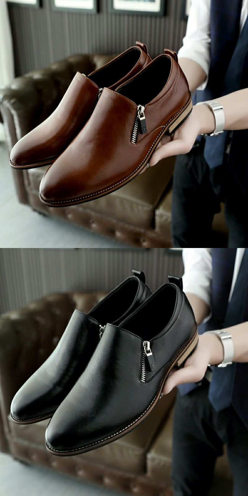 Prelesty Luxury Men Dress Shoes Pointed Toe Leather Formal