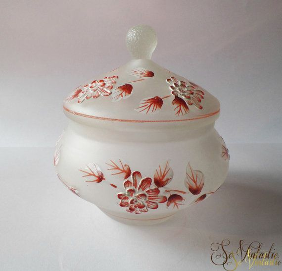 Vintage Hand Painted Cookie Plate Frosted Glass Candy Dish Carnival Glass Tray