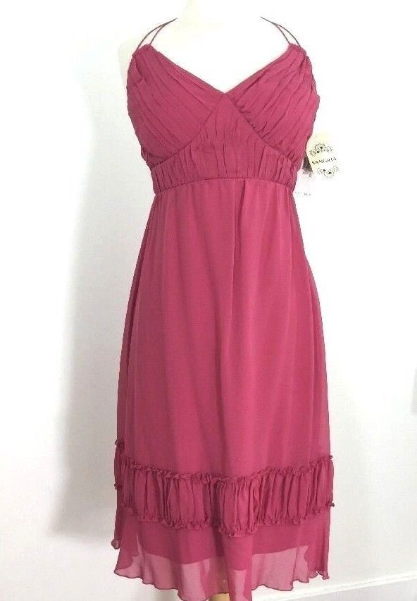 Silk Summer Halter Dress from Sangria. Style : Double spaghetti straps tie around the neck, halter style. Ruched bust with empire waist. Also ruched band near the bottom. Side zipper with hook and eye. | eBay!