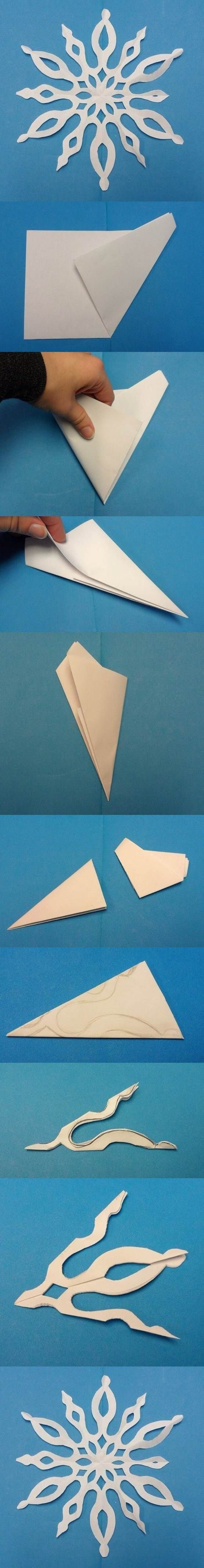 how to cut a snowflake easy
