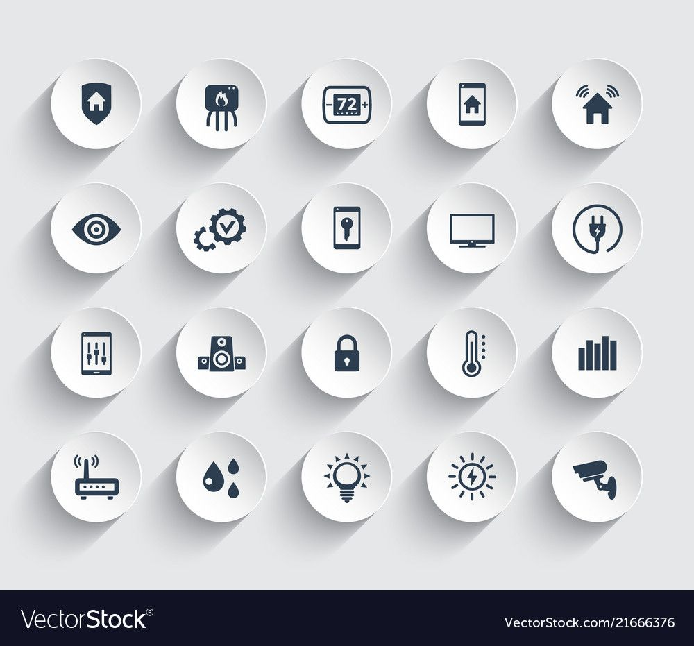 Smart house automation system icons set vector image on in