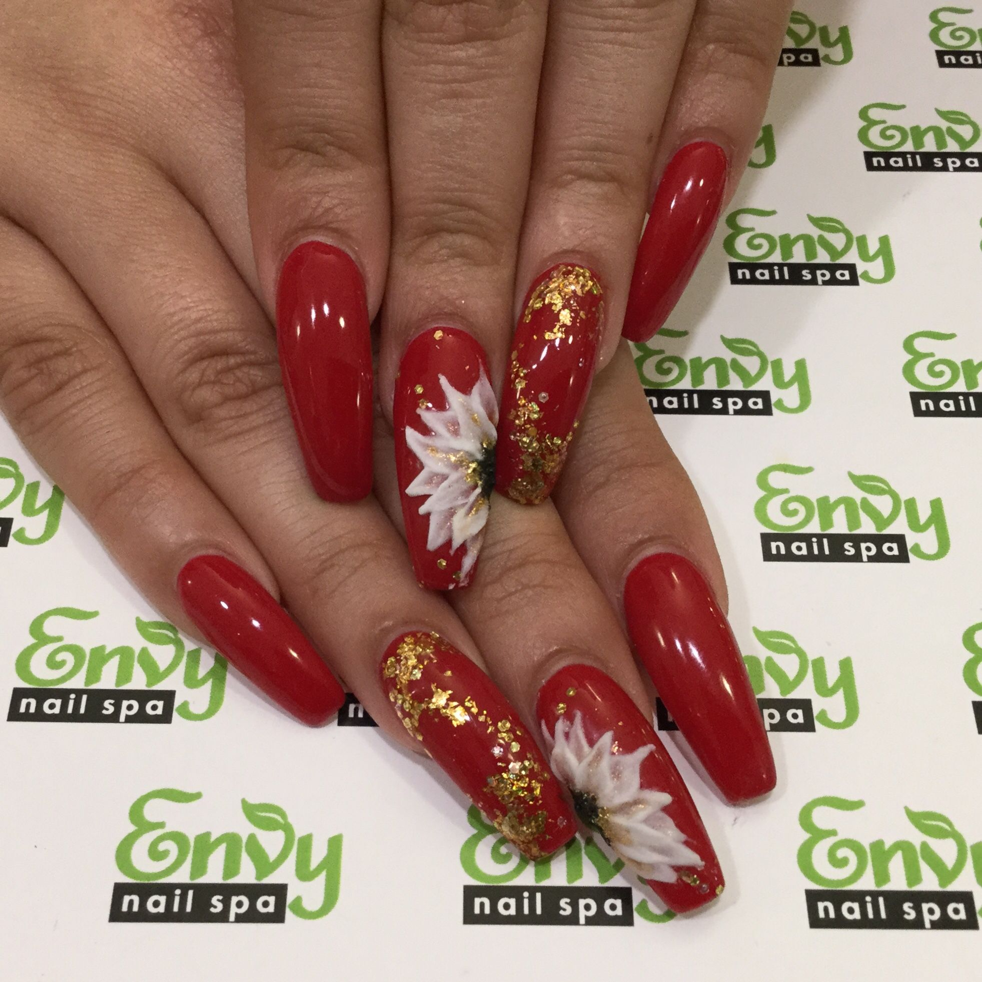 Envy Nail Spa At Your Finger Tips Red And Gold Nails Red Nails Red Acrylic Nails