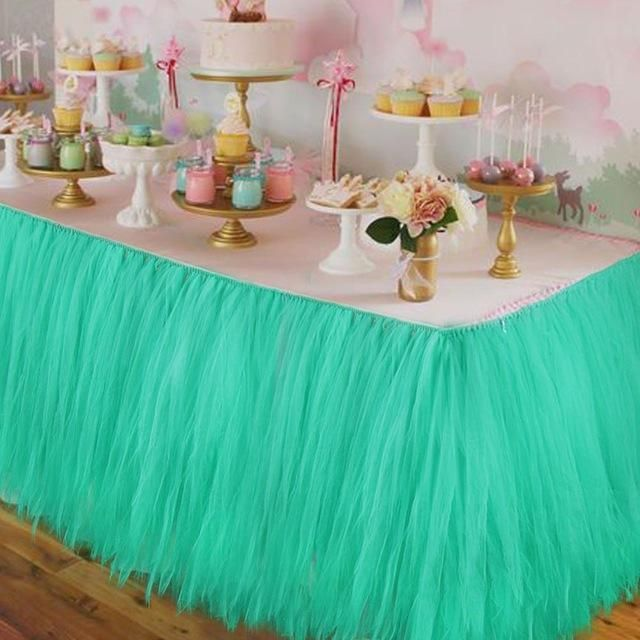 Ourwarm wedding table skirt table decoration accessories tulle tutu ourwarm wedding table skirt table decoration accessories tulle tutu table skirt baby shower birthday junglespirit Images