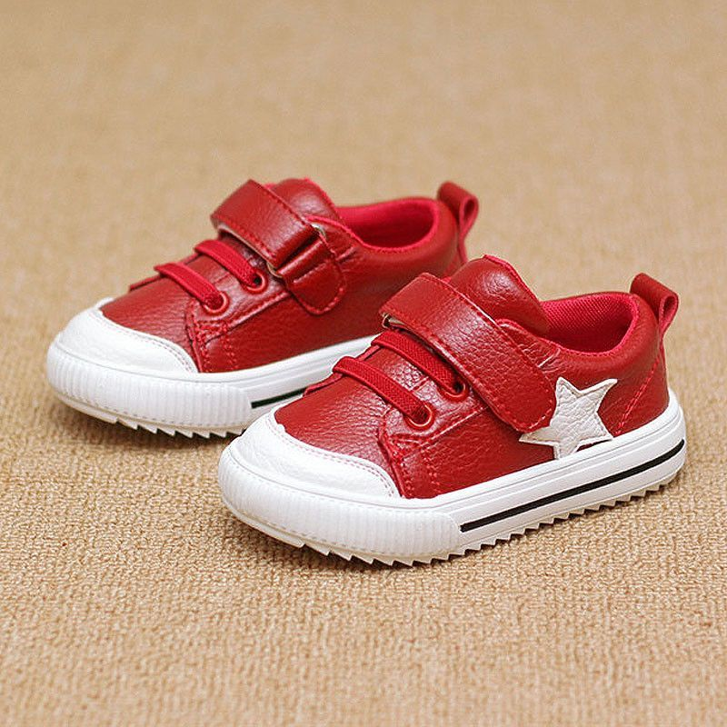 Children s Sport Shoes Leather Boys Girls Leather Shoes Wholesale Baby  Fashion Sneakers Comfortable Kids Flats Shoes Autumn Red cb0ccb4d068a