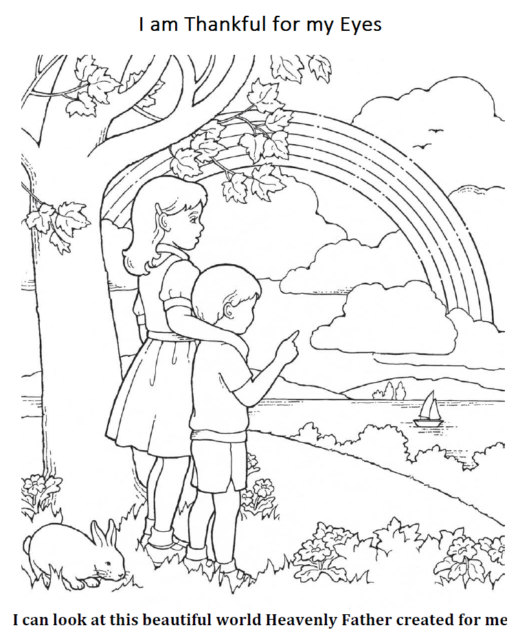 i am thankful for my eyes coloring page  lds coloring
