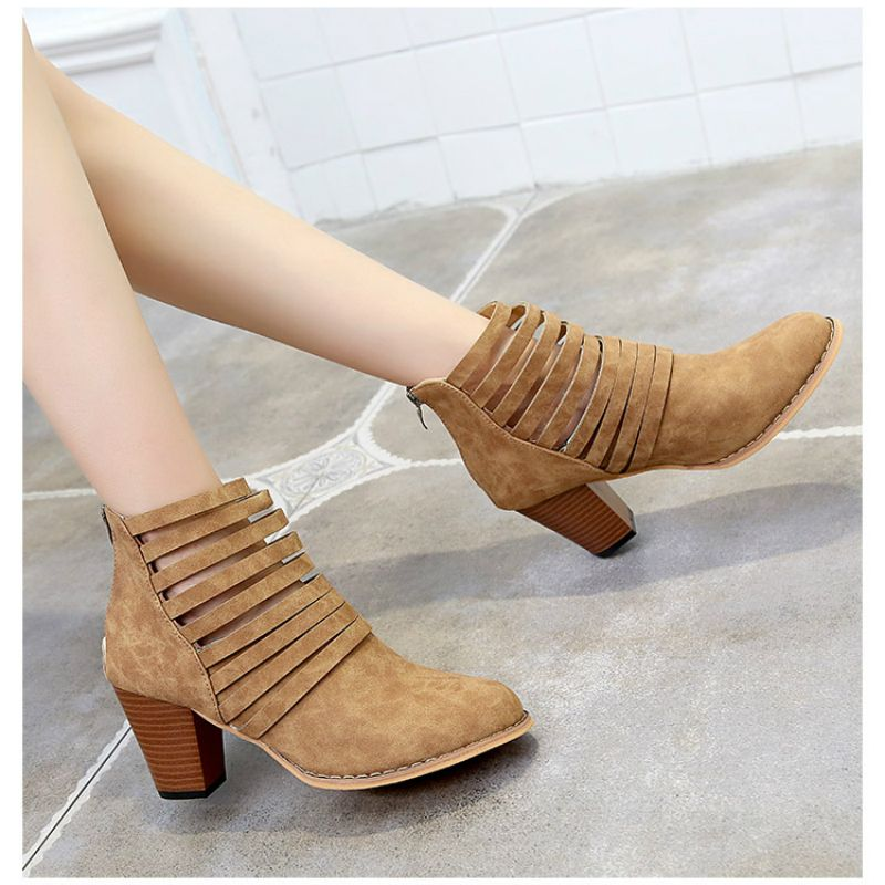 Women S Fashion Autumn Hollow Out High Heel Casual Solid Color Round Head Sandals Martin Boots Boots Casual High Heels Autumn Fashion Women