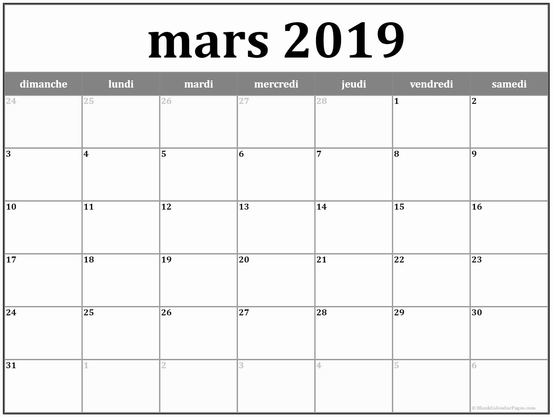 Mars 2019 Calendrier How to plan