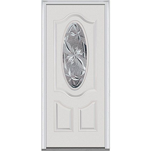 National Door Efs749li30cprlh Fiberglass Prehung Left Hand In Swing Entry Door With Lasting Impressions Decorative Glass 3 4 Glass Decor Front Door Fiberglass