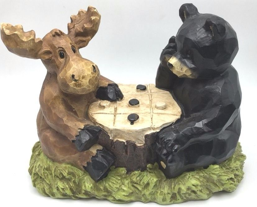 Elegant Lawn Garden Statue Moose Bear Playing Checkers Yard Ornament Decor  Mainstays New
