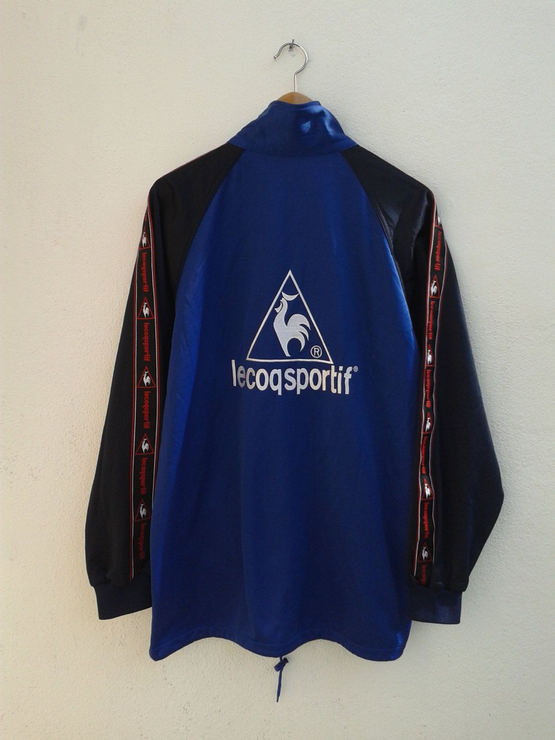 ON SALE 4 Vintage 90s LE Coq Sportif Nextreme Giant Logo Rooster Sportswear  Embroidery Color Block Raglan Jacket Size L