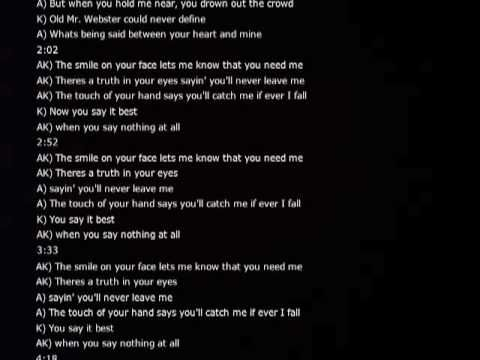 When You Say Nothing At All Alison Krauss And Keith Whitley Together With Lyrics Via