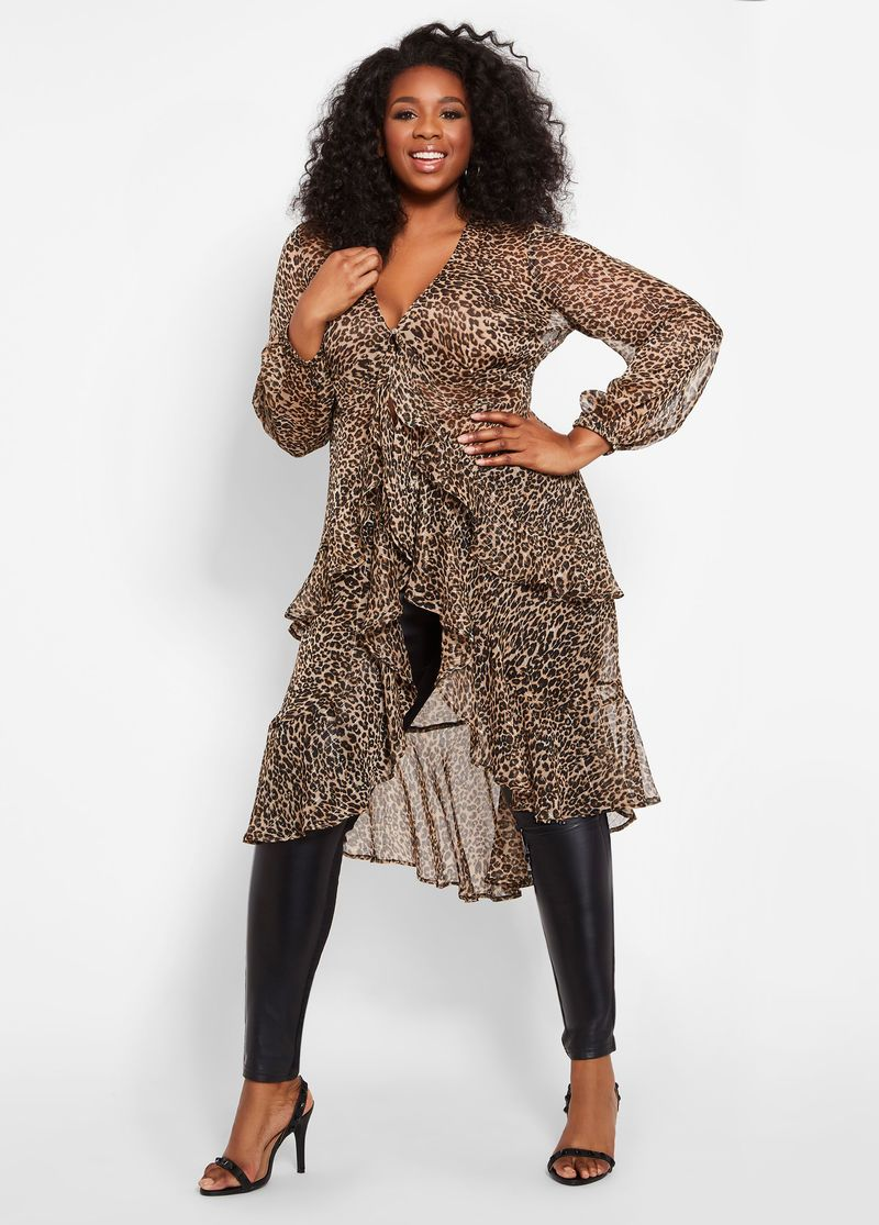251e8fba0942c5 Metallic Leopard Print Duster Top This item is available in Plus Size.
