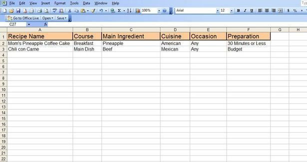 How To Create An Excel Recipe Spreadsheet Create A Recipe
