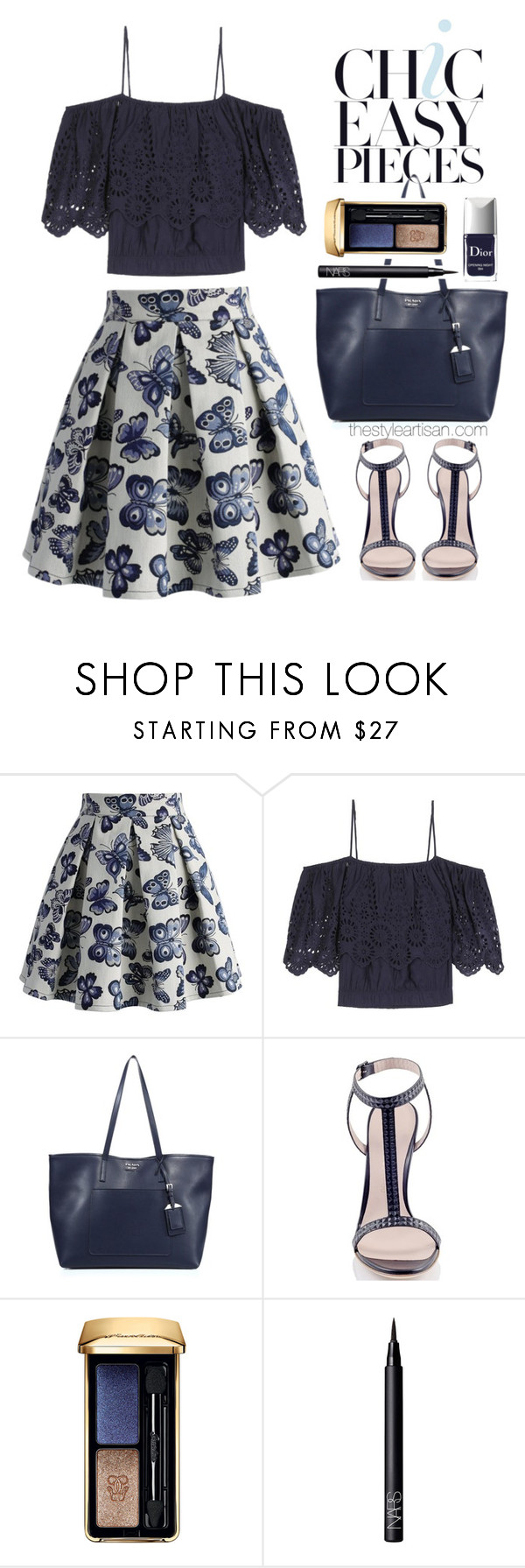 """Chicwish Fond for Butterflies Pleated Skirt"" by thestyleartisan ❤ liked on Polyvore featuring Chicwish, Ganni, Prada, Konstantina Tzovolou, Guerlain, NARS Cosmetics and Christian Dior"