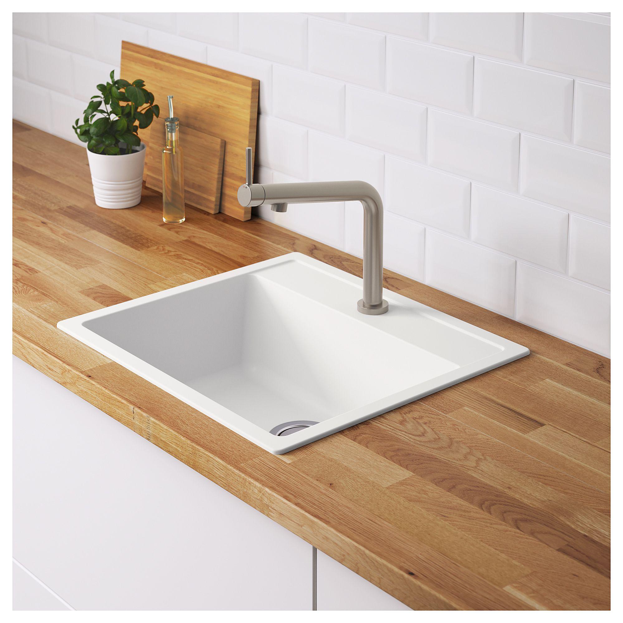 Hallviken Sink White Quartz Composite 22x19 5 8 56x50 Cm