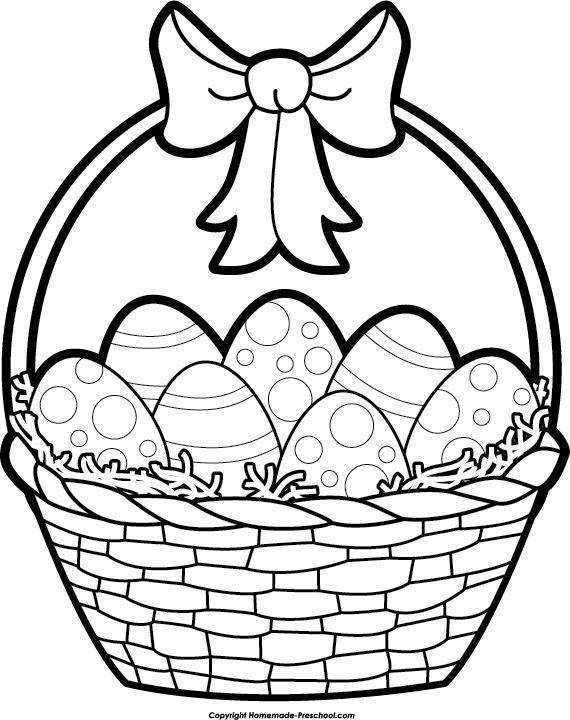 Easter Basket Clipart Black and White | Happy Easter | Pinterest ...