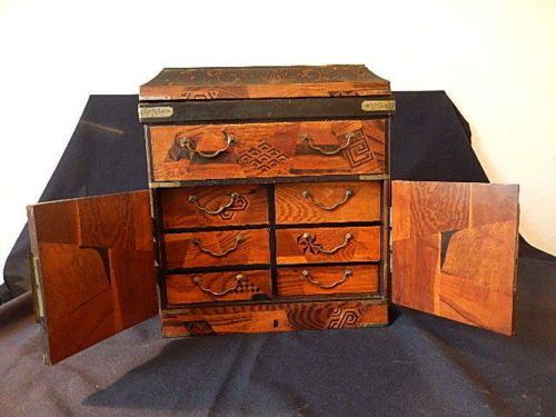 Japanese Tansu Miniature Wooden Chest Decorated With Inlay And