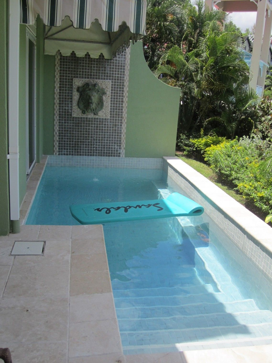 Pool Studio With Square Private Plunge In Back Terrace And