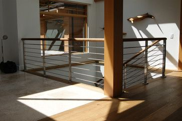 Oak & Stainless Steel Interior Railing - Contemporary - Staircase - Vancouver - by Avilion Metalcraft