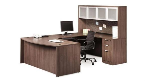 U Shaped Desk with Hutch Modern Walnut Right Return by Office